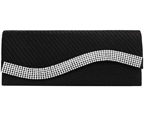 Jubileens Women's Pleated Stain Evening Handbag Flap Wavy Crystal Clutch Party Bag (Black)