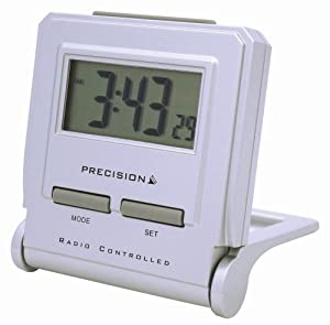 precision msf radio controlled lcd silver case travel alarm clock with calendar. Black Bedroom Furniture Sets. Home Design Ideas