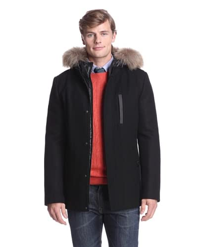 Soia & Kyo Men's Benji Solid Wool Zip Front Puffy Jacket with Fur Trim