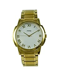 PHQ Classy American Golden Analogue White Dial Men's Watch - CLS 028