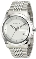 Gucci Men's YA126404 G-Timeless Medium Diamond Marker Silver Dial Watch