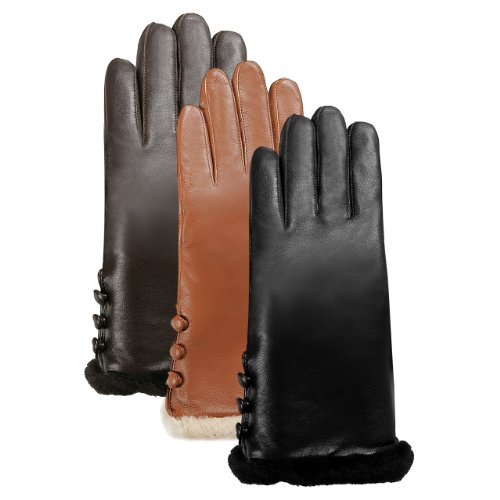 Luxury Lane Women's Cashmere Lined Lambskin Leather Gloves with Shearling Fur Trim in Black, Chocolate, or Tobacco
