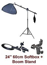 Studio Portable Hot Shoe Flash Softbox Boom Stand Lighting Kit for Canon, Nikon, Panasonic, Leica, Pentac, Olympus DSLR camera