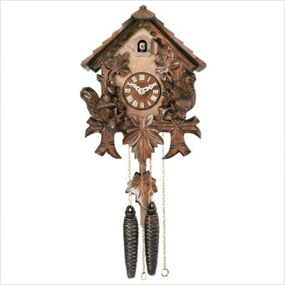 River City Clocks 30-10 Chalet Style One Day Cuckoo Clock with Hand-Carved Squirrels And Maple Leaves, 10-Inch Tall