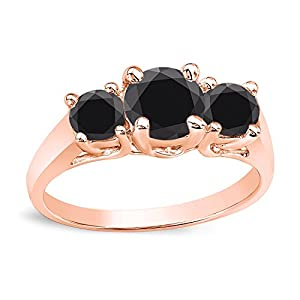 14k Rose Gold Round-cut 3-Stone Black Diamond Engagement Ring (1 1/2 cttw, Black)