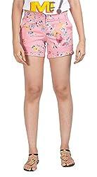 Abony Women's Lycra Cotton Satin Shorts (GSLW121-30, Pink, 30)