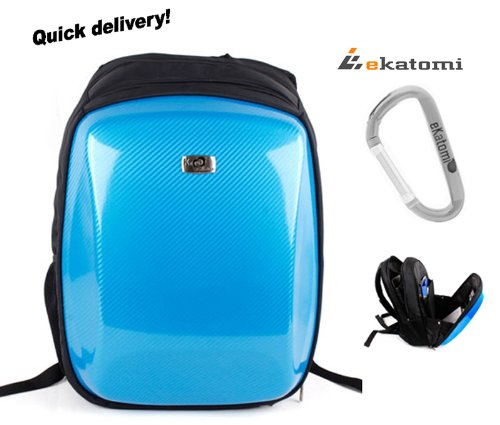 Carbon Fiber Like, Bon-bons Backpack Travel Laptop Bag for 15.6 inch Sony VAIO PCG-K10 Notebook - Blue. Hand-out Ekatomi Screen Cleaner Sticker