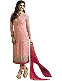 Surat Tex Pink Colored Georgette Embroidered Party Wear Semi-Stitched Salwar Suit-J598DL62