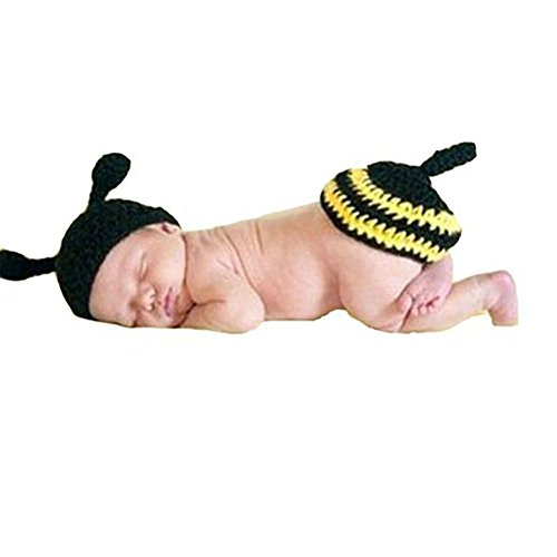 CX-Queen Photography Prop Baby Infant Yellow Flower Bee Crochet Knitted Costume