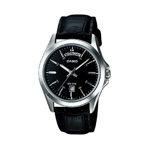 Casio MTP-1370PL-1AVEF Men's Quartz Watch with Black Dial Analogue Display and Black Leather Strap