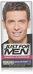 Just for Men Shampoo-In Hair Color, Medium-Dark Brown 40, 1 application, (Pack of 3)