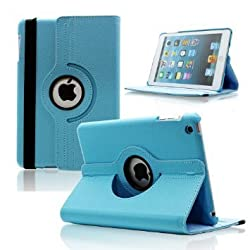 360 Leather Rotate Flip Cover Book Case for Apple iPad Air, iPad 5 - light blue