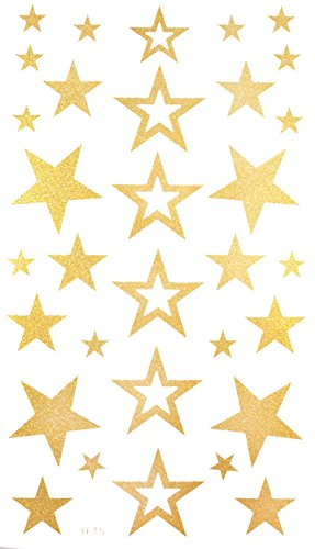 """Spestyle the best temporary tattoos product dimension (17*9.5cm) 6.69""""""""x3.74"""" stars Gold golden fake temporary tattoo stickers"""