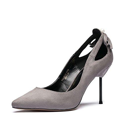 Signora tacchi alti in autunno/Hollow scarpe tacco alto a spillo asakuchi puntato perline-C Lunghezza piede=23.8CM(9.4Inch)