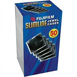 Fujifilm Media 25367050 Empty Slim Jewel Cases - 50 Pack (Black)