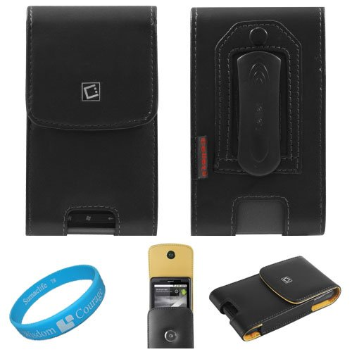 Black Vertical Premium Leather Holster Carrying Case with Removable Belt-Clip for AT&T HTC Inspire 4G Android Smartphone also compatible with HTC Desire HD + SumacLife TM Wisdom*Courage Wristband