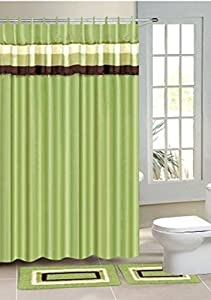 15PC SAGE GREEN STRIPE BATHROOM CONTOUR BATH MAT SET RUG SHOWER CURTAIN RINGS #3