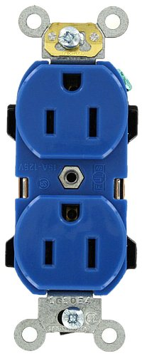 Leviton 5252-BU 15 Amp, 125 Volt, Industrial Series Heavy Duty Specification Grade, Duplex Receptacle, Straight Blade, Self Grounding, Blue (Electric Dirt Tamper compare prices)