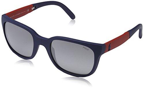 Polo - Occhiali da sole PH 4089 Wayfarer, Uomo, 53406I, Rubber Blue, Gray Grad Mirror