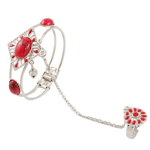 Woman Red Oval Beads Decor Silver Tone Chain Ring Bracelet