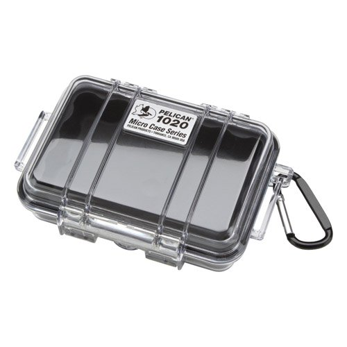 Pelican 1020 Micro Case With Clear Lid And Carabineer, Black
