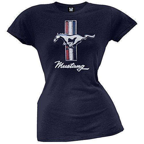 Ford - Womens Vintage Mustang Logo Juniors T-shirt Medium Dark Blue