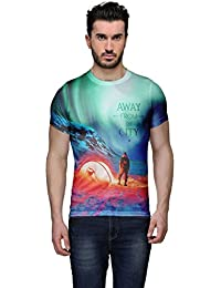 Wear Your Mind Multi-Coloured Poly Cotton Round Neck Printed T-shirt For Men CST038