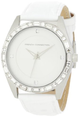 French Connection Women's FC1008W White Leather Strap Stainless Steel Watch