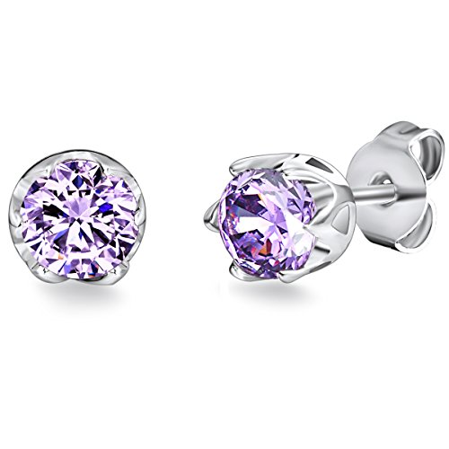 Rafaela Donata Damen-Ohrstecker Classic Collection 925 Sterling Silber Zirkonia violett  60800023