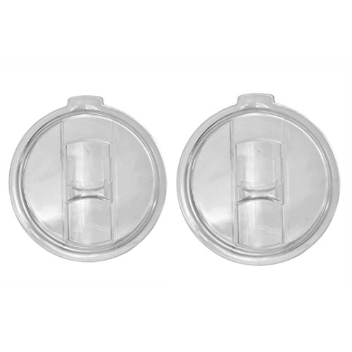 AMA(TM) 2 Pcs Replacement Spill and Splash Resistant Lid with Slider Closure for 30 Oz Tumblers (Clear)