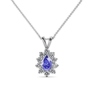 Pear Tanzanite and Diamond Halo Pendant 1.00 ct tw in 14K White Gold with 18 Inches 14K Gold Chain
