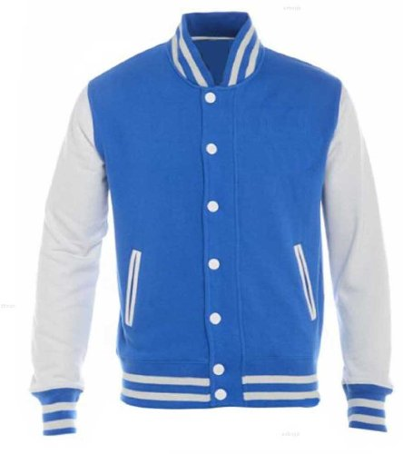 Mens Premium Varsity Jackets By MIG Sizes XS to 2XL - SPORTS LEISURE WORK CASUAL (M / MEDIUM, BLACK JACKET / WHITE SLEEVES)