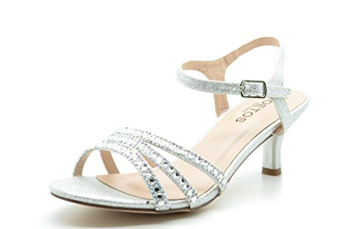 TOETOS BERK-170 Women's New Classic Open Toe Rhinestone Embelishment Adjustable Buckle Low Heel Sandals Shoes SILVER SIZE 9