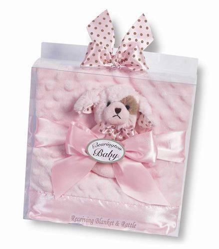 Bearington Baby Wiggles Pink Chenille Stroller Blanket and Puppy Dog Rattle Set