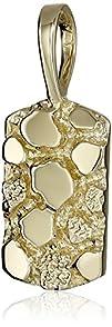 Men's 14k Yellow Gold Nugget Pendant…
