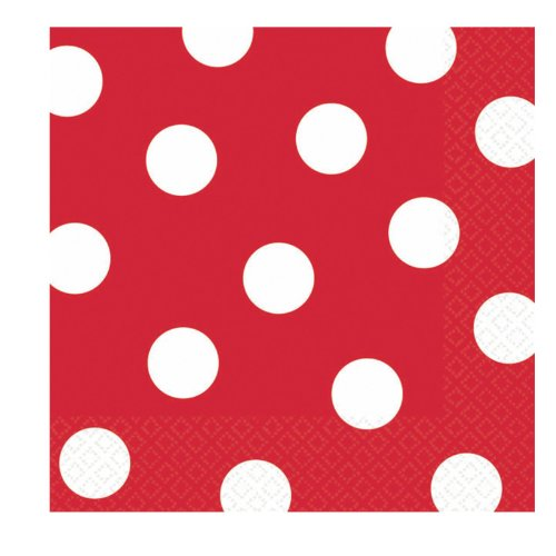 Red Polka Dot Beverage Napkins (36 count)