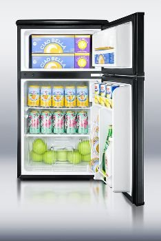 ENERGY STAR qualified compact two-door refrigerator-freezer in 19 inch width and black exterior