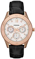 Fossil Stella Leather Watch Black