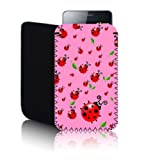 Biz-E-Bee Exclusive 'LADYBIRD' Pink SAMSUNG GALAXY ACE PLUS GT S7500 (M) Shock Resistant Neoprene Mobile Phone Case, Cover, Pouch