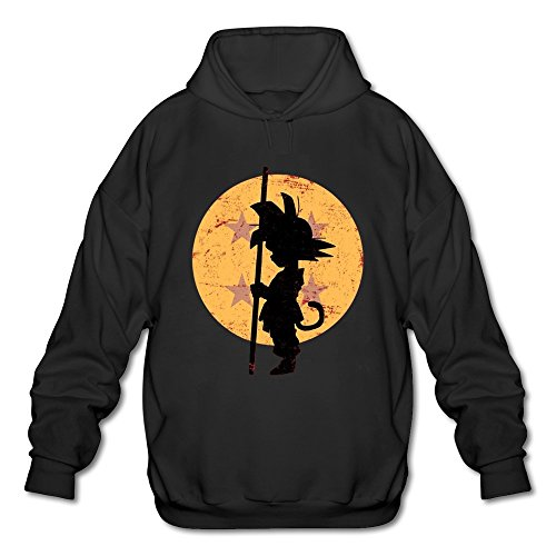 ToWi Men's Dragon Ball Z Son Goku Fleece Hoodie Black L