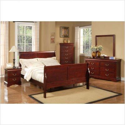 Louis Phillippe Queen Sleigh Bedroom Set in Cherry