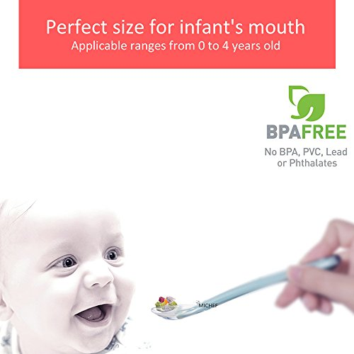 MiChef Baby Spoons Soft-Tip Silicone Infant Feeding Spoons BPA Free, First Stage, 5 Count