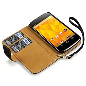 Google LG Nexus 4 E960 Cool Black with Tan Interior Genuine PU Leather Wallet Pouch Case Cover Protector from Keep Talking Shop Google Nexus 4 E960 Accessories