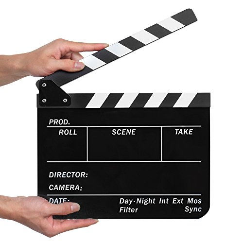Flexzion Acrylic Plastic Clapboard Director's Clapper Board Dry Erase Cut Action Scene Slateboard For Hollywood Camera Film Studio Home Movie Video 10x12