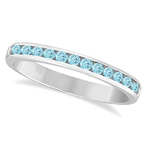 Aquamarine Channel-Set Semi-Eternity Ring Band 14k White Gold (0.40ct)