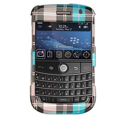 RIM Blackberry Bold 9000 Blue Check Design SnapOn Case Cover (No Belt Clip)