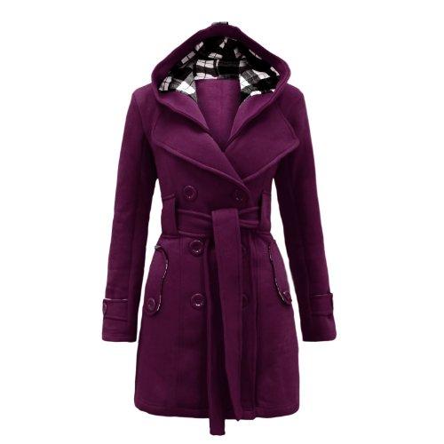 Envy Boutique Women's Military Button Hooded Fleece Belted Jacket Coat Plus Purple 14