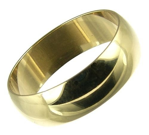 Men's Wedding Ring, 9 Carat Yellow Gold D Shape, 6mm Band Width