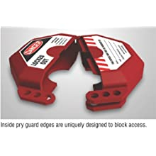 "Accuform Signs KDD474 STOPOUT Gate Valve Lockout, Fits Valve Handle Diameter 10"" to 13"", Hinged Plastic Clamshell Housing, Red"