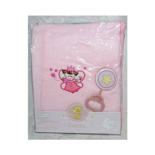 Cutie Pie *Princess* Fleece Baby Blanket --W/ Toy Rattle